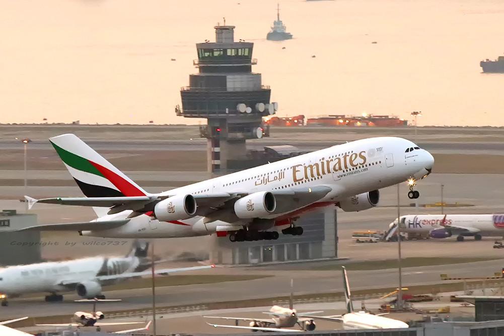 Emirates Airbus 380-800 departing HKG (A6-EDU)