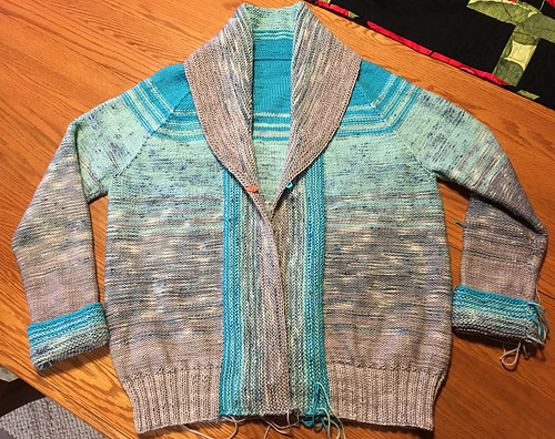 Natalie's Comfort Fade Cardi is almost done! Just ends to sew in!