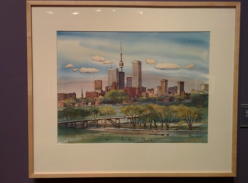 Skyline from Riverdale Park, March 1977 #toronto #tdgallery #walterjacksoncoucill #skyline #riverdalepark #painting #torontorevealed #torontoreferencelibrary #latergram