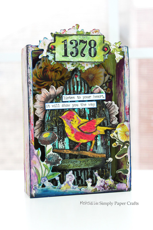 Meihsia Liu Simply Paper Crafts Mixed Media Box Bird Cage Fly Simon Says Stamp Tim Holtz