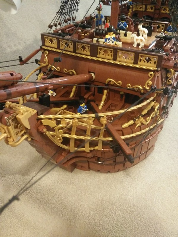 "Lego French galleon inspired by the 17th century man of war ""Royal Louis"" minifig scale."