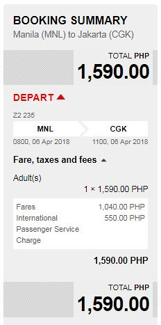 Manila to Jakarta AirAsia Promo April 6, 2018 Booking Summary