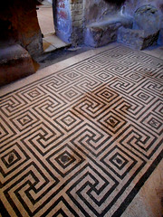 Mosaic floor of female thermal baths at Herculaneum, buried by Vesuvius' eruption on 79 AD