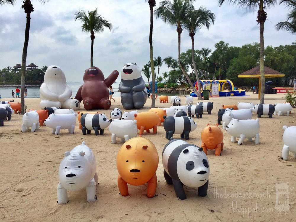 grizzly, ice bear, palawan beach, palawan green, panda, sentosa, sentosa funfest 2018, singapore, we bare bears, where to go in singapore, 咱们裸熊, 圣淘沙, 巴拉湾海滩