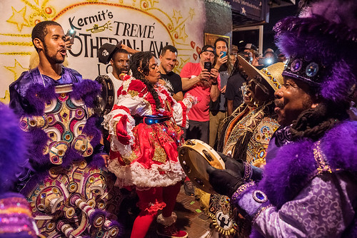 09 - In front of Kermit's Mother-In-Law Lounge on Saint Joseph's Night in New Orleans on March 19, 2018. photo by Ryan Hodgson-Rigsbee RHRphoto.com