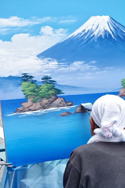 Mt.Fuji public bath landscape live painting 26