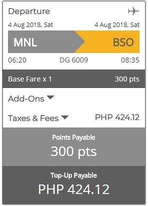 GetGo Triple Treat Manila to Batanes August 4, 2018 Booking Summary