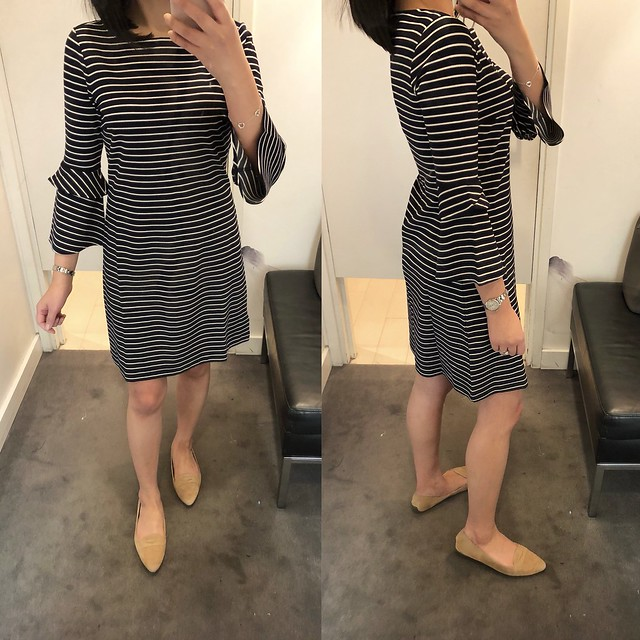Ann Taylor Striped Ponte Flare Sleeve Dress, size 0 regular