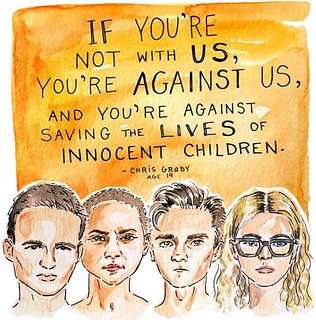 Cameron Kasky, Emma Gonzalez, David Hogg, and Delaney Tarr (art by Kimothy Joy)