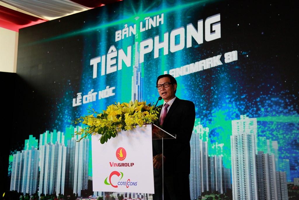 Chủ tịch Coteccons, ông Nguyễn Bá Dương phát biểu tại buổi lễ.