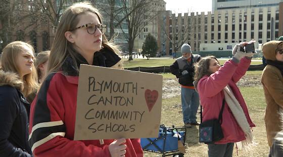 Students Rally At Michigan Capitol