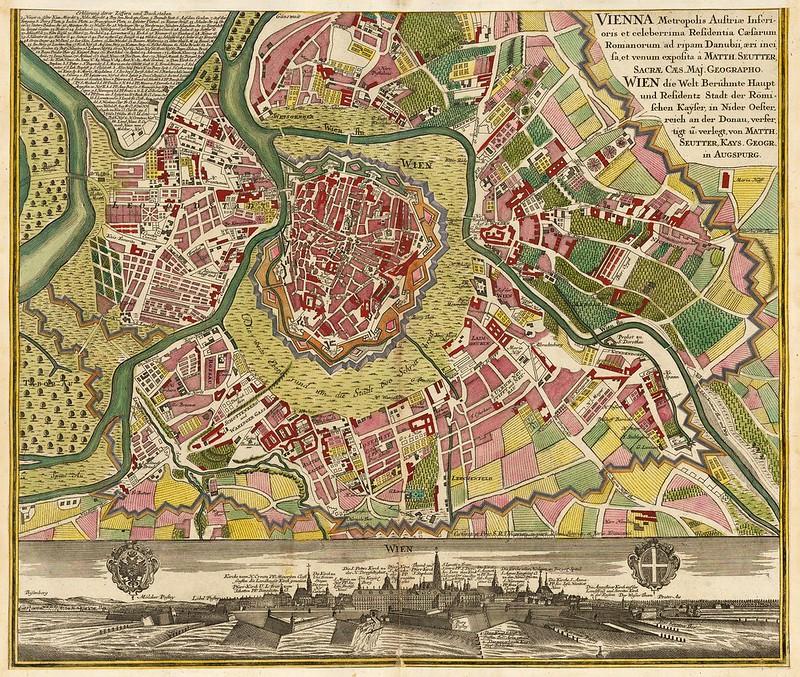 Matthaus Seutter - Vienna Metropolis Austriae Inferioris et Celeberrima Residentia Caesarum Romanorum ad Ripam Danubii (c.1730)