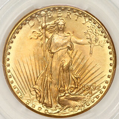1932 Double Eagle obverse in slab