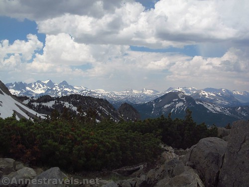 Views north over Mammoth Lakes and into Yosemite from Duck Pass in Inyo National Forest, California