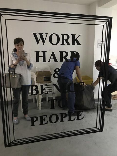Work Hard signage