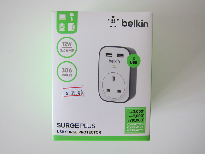 Belkin SurgeCube 1 Outlet Surge Protector with USB Charging - Box Front