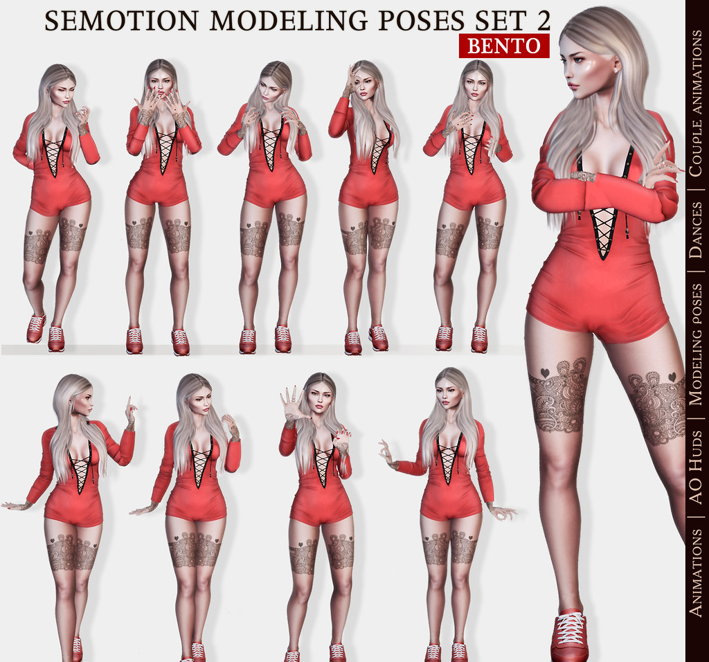 SEmotion Female Bento Modeling Poses Set 2 - 10 static animations - TeleportHub.com Live!
