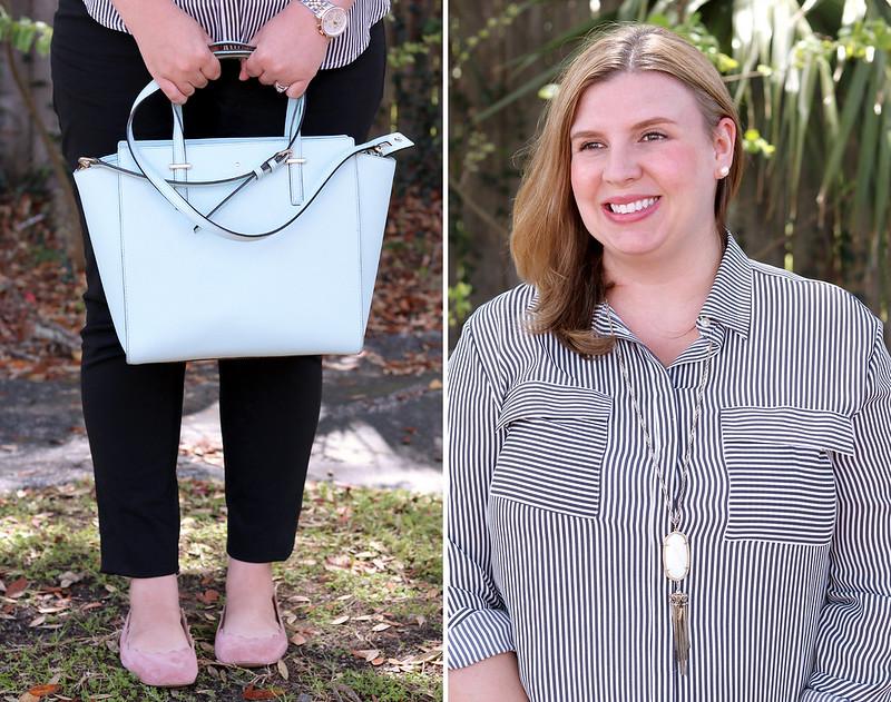 gray stripe utility shirt, black pencil pants, blush flats 3