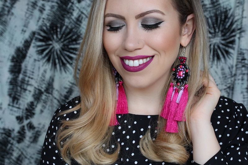 Gray Eyeshadow Matte Magenta Pink Lipstick Urban Decay Vice Liquid Lipstick in Crank Hot Pink Statement Earrings Polka Dot Shirt