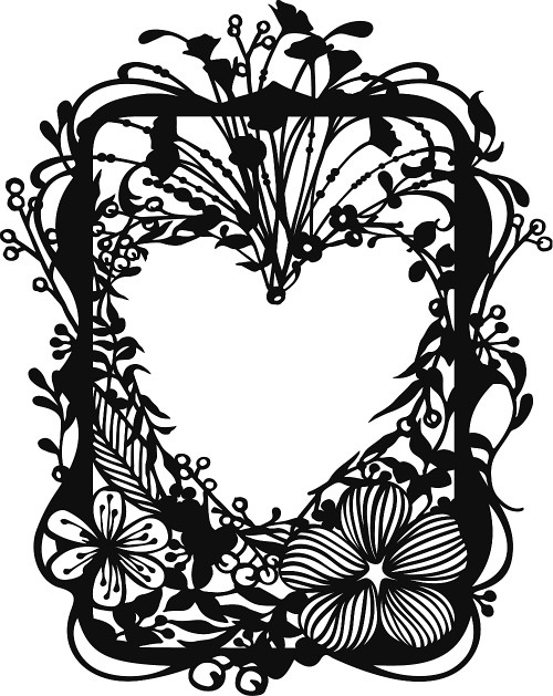 Floral Frame Papercut Template