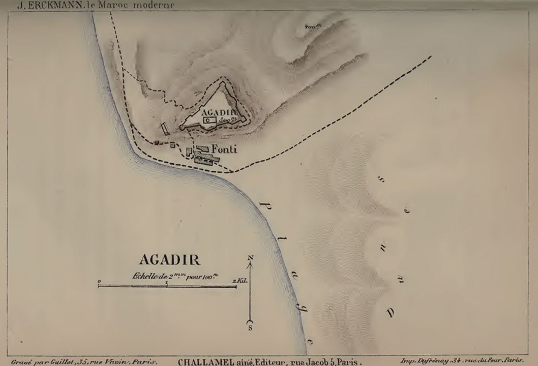 Map of Agadir in 1885 by Jules Erckmann