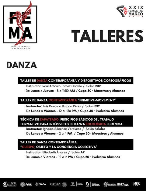 Festival de Marzo 2018, Talleres