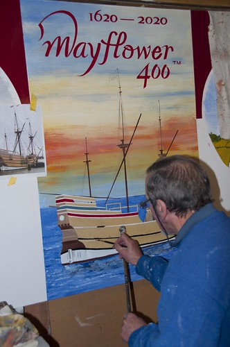 Roger Davies sign writing the Mayflower 2020 bonfire sign board