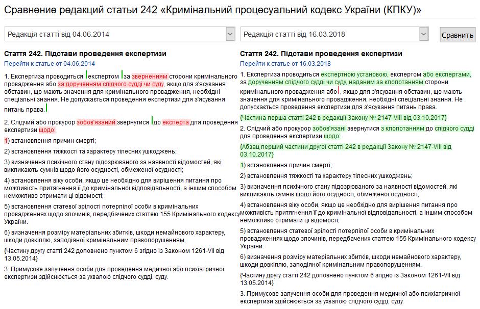 Screenshot-2018-3-13 Порівняння редакцій статті 242 «Кримінальний процесуальний кодекс України (КПКУ)» - Юрист-UA Net