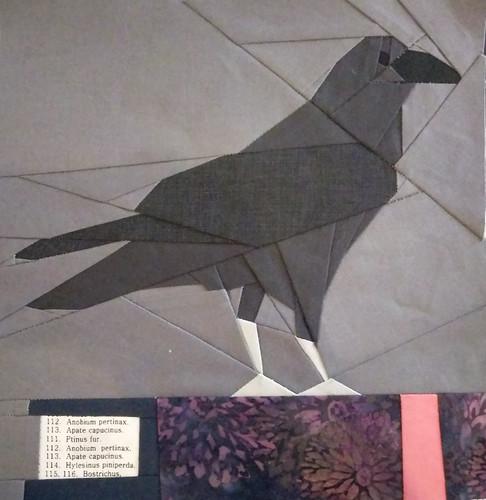"""Raven"" Harry Potter bookshelf quilt square. POD"
