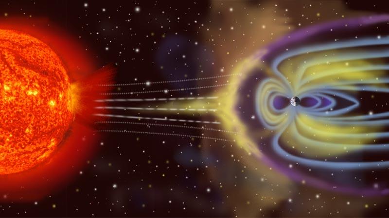 Ilustrasi badai magnetis.