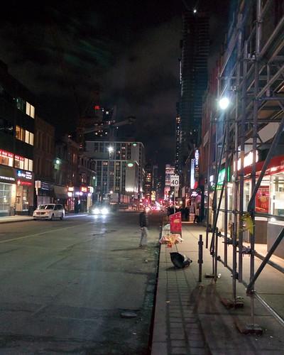 Looking south on Yonge Street at Wellesley #toronto #night #yongestreet #yongeandwellesley #skyline