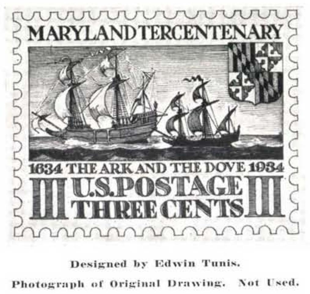 Maryland Tercentary issue, 1934 - Edwin Tunis unused design