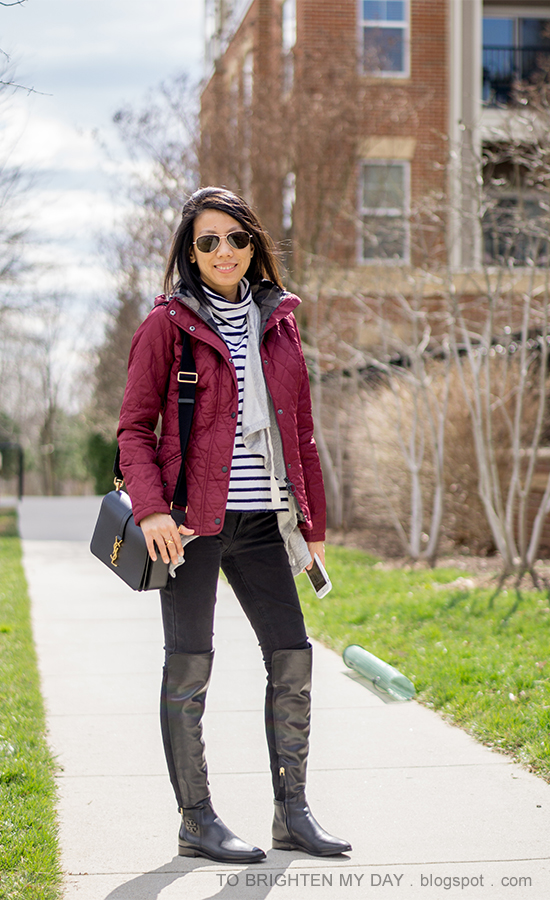 red quilted jacket, striped turtleneck, gray cinched-collar open-front wrap, black jeans, black shoulder bag, black over the knee boots