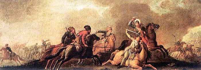 Tadeusz Kościuszko falling wounded in the battle of Maciejowice, October 10, 1794.