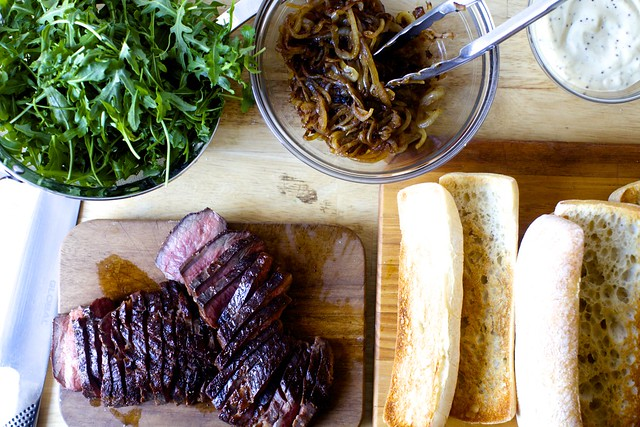 steak sandwich assembly