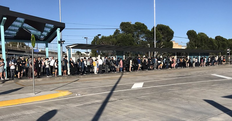 Queue at Huntingdale bus interchange (via Darren)