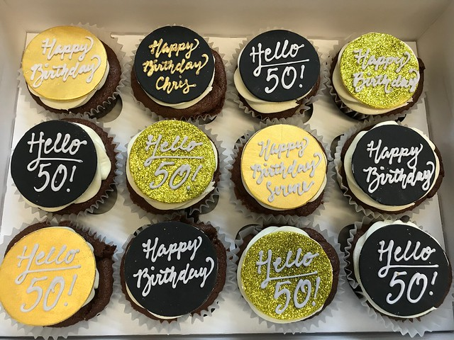50th birthday Cupcakes #polkadotsbakery