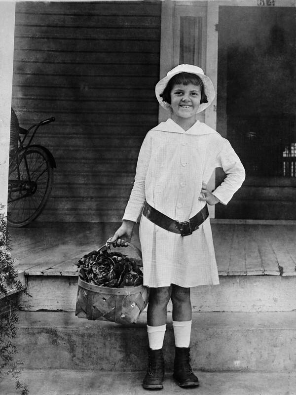 Ethel Murry holding basket - Arcadia