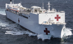 USNS Mercy (T-AH 19) transits through the Pacific after departing San Diego in February. (U.S. Navy/MC2 Kelsey L. Adams)