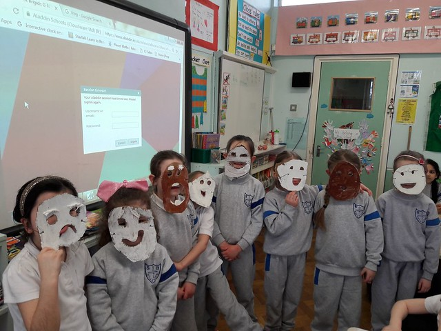 Greek theatre masks in 1st