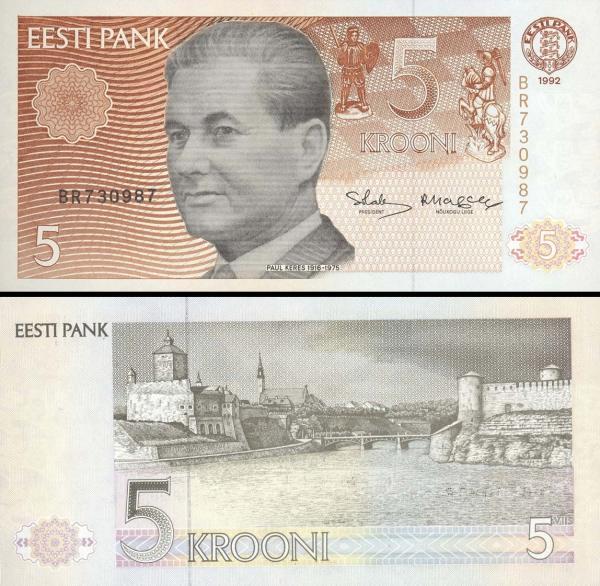 5 estónskych korún Estónsko 1992, P71b