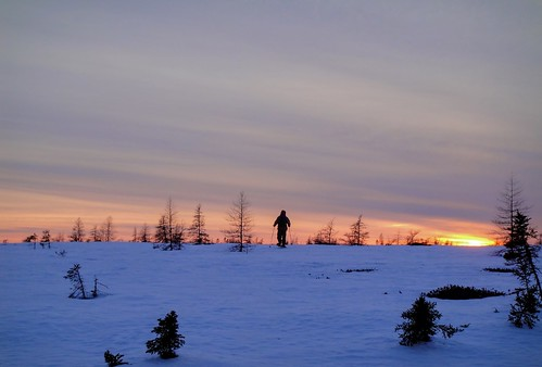 Skiing into the sunset