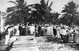Members of the Mapoon community welcoming the Home Secretary to their mission, May 1914