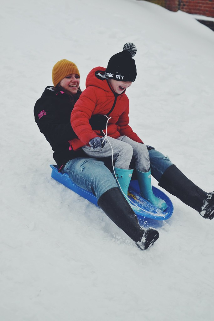Sledding with Mummy Snow Day