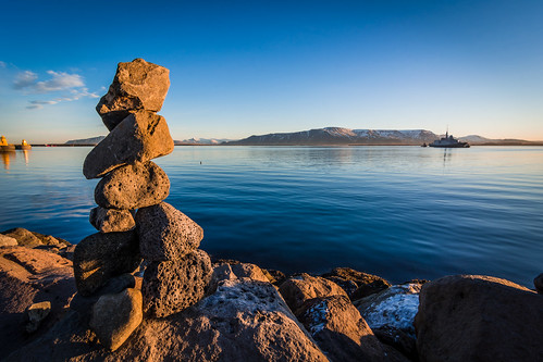 sunrise iceland reykjavik mountesja theesja sea boat travel mountain rockstack rockbalancing