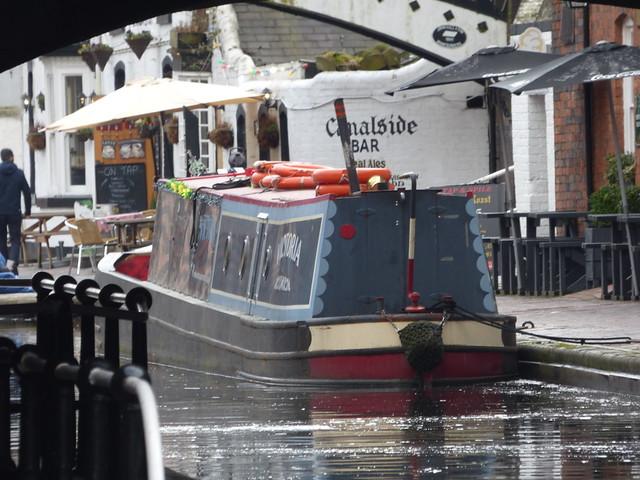 Narrowboat Victoria near Canalside Bar at Gas Street Basin