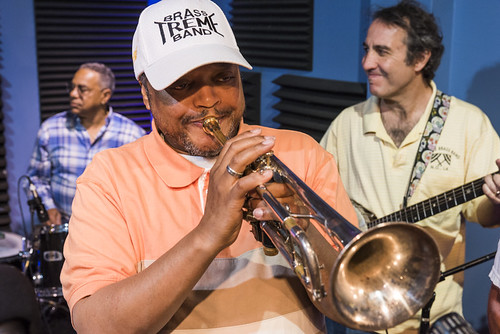 Vernon Severin, Raymond Williams, and Seva Venet of Treme Brass Band perform in studio during the WWOZ Spring 2018 Pledge Drive final day on March 23, 2018. Photo by Ryan Hodgson-Rigsbee RHRphoto.com