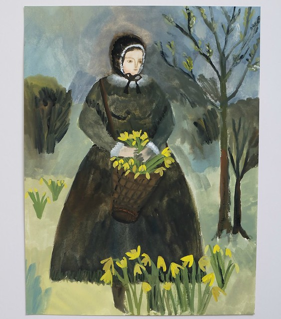 Daffodils (folk figure) 30cm x 22cm gouache on Fabriano paper