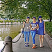 China 2012. Guangzhou. Three young girls strolling in Shamian Island.