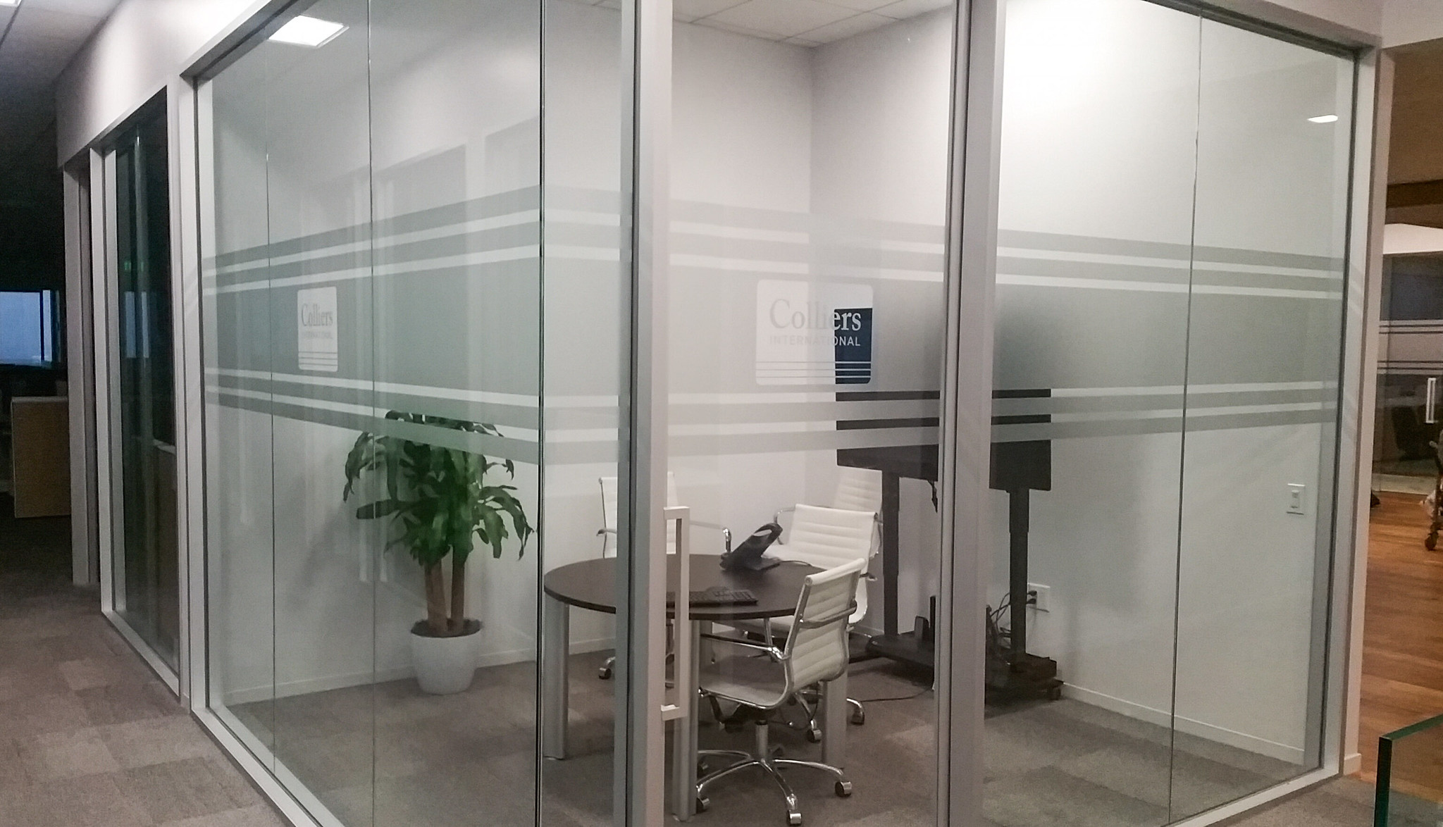 Colliers LA - small conference room etch vinyl privacy band